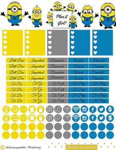 Minions Bi-weekly Sticker Sheet   Perfect by LuxuriousPrintables
