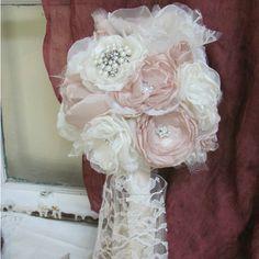 Wedding Bouquet Rhinestone with Pearls & Fabric Rosebuds