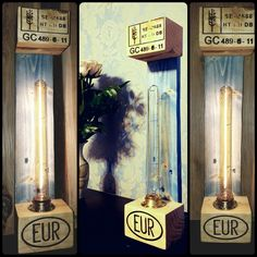 Industrial style, pallet wood lamp with 'Edison' bulb