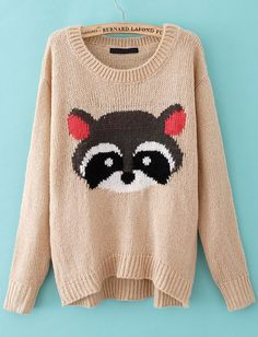 e3d5940cc28 Apricot Long Sleeve Bear Pattern Pullover Sweater - Sheinside.com Sweater  Weather