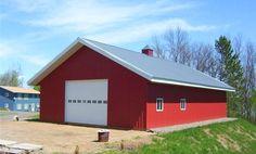 Red barn with end garage door