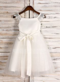 45.99  A-Line Tea-length Flower Girl Dress - Satin Tulle Sleeveless  Square Neckline With Lace Sash (010091712) 1ba4bdbb7