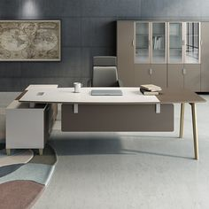 Factory direct office furniture with side cabinet wooden modern white office desk