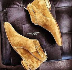 Butterscotch Suede Chelsea Boots, by Saint Laurent, Men's Spring Summer Fashion.