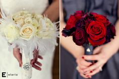 white rose bridal bouquet with feathers, red rose bouquet. minus feathers. color scheme A+