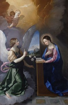 Guido Reni Annunciation huile - Une spiritualité de l'Incarnation (Montfort) Italian Painters, Italian Artist, Religious Paintings, Religious Art, Madonna, Feast Of The Annunciation, Holy Rosary, Blessed Virgin Mary, Catholic Art