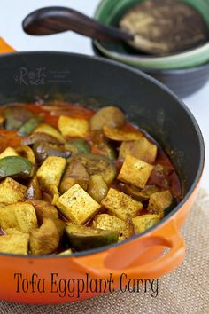 Not sure what to do with tofu? Try this easy and flavorful Tofu Eggplant Curry. Totally vegan, gluten free, and delicious with a bowl of rice. | RotiNRice.com