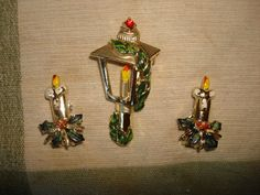 Vintage Enameled Christmas LAMP POST Gold by PastPossessionsOnly, $7.95