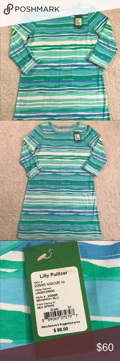 NWT Lilly Pulitzer linden dress Lilly Pulitzer sea stripe dress! Perfect dress for spring. Sleeve 3/4 length. No trades please Lilly Pulitzer Dresses