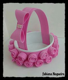 Kids Crafts, Foam Crafts, Diy Home Crafts, Diy Arts And Crafts, Easter Crafts, 2 Baby, Flower Girl Basket, Minnie Mouse Party, Basket Decoration
