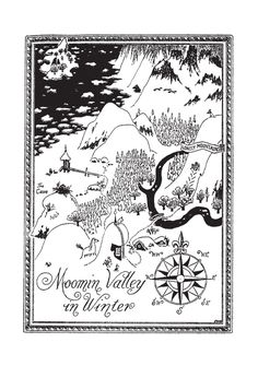 Tove Jansson: The Moomin Valley in the Winter Finland Moomin Tattoo, Moomin Books, Lynda Barry, Moomin Valley, Tove Jansson, Life Map, Fantasy Map, Map Art, Illustrations Posters