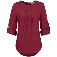 GRACE KARIN Women's Casual Cuffed Sleeve Blouse T-Shirts Curved Hem... ($15) ❤ liked on Polyvore featuring tops, blouses, red button down shirt, button down blouse, chiffon shirt blouse, chiffon button down shirt and red button up shirt