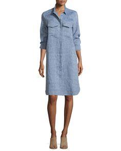 Long-Sleeve+Linen+Shirtdress+by+Go+Silk+at+Neiman+Marcus.