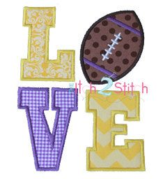 Football Love Applique Design Sizes 4x4, 5x7 and 6x10 For Machine Embroidery INSTANT DOWNLOAD now available by TheItch2Stitch on Etsy https://www.etsy.com/listing/153832516/football-love-applique-design-sizes-4x4