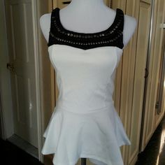 SALE White beeded top NWOT White & Black beeded top brand new never used. NWOT Tops