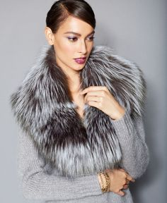 The Fur Vault's fox fur collar is endlessly versatile -- pair with a cashmere sweater for indoor wear or layer it on top of your favorite winter coat! | Real fox fur; lining: polyester | Professional