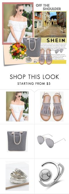"""Off the Shoulder Dress - SHEIN"" by carola-corana ❤ liked on Polyvore featuring Post-It"
