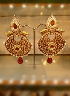 Absolutely Beautiful Antique Polki Earrings in Maroon-Jewellery-Dimple Collections