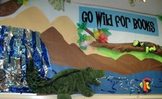 Bulletin board for Dinosaurs. Go Wild for Books. Dig into Reading.
