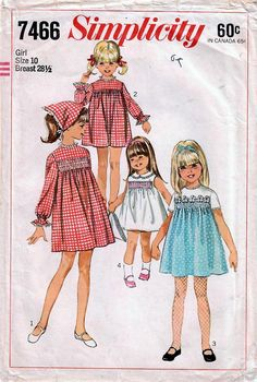 1960s Simplicity 7466 Vintage Sewing Pattern Girls One Piece