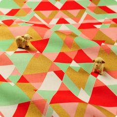 Retro - pink, gold & aqua triangle geometric prints cotton fabric