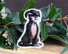 Black and White Mixed Breed Terrier Die Cut Dog Sticker Mixed Breed, Garden Sculpture, Terrier, Stickers, Black And White, Creative, Dogs, Prints, Handmade