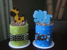 Jungle Safari Mini Diaper Cakes for Baby Shower Centerpiece or New Baby Gift. so cute