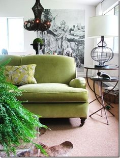 Uh-huh, yes indeed. just the right shade of green English roll arm sofa. Lauren Liess Interiors