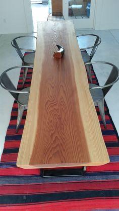 Live edge Redwood slab dining table.
