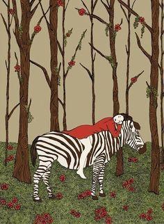 NEVER ALONE  by Shira Sela  ( Etsy:: http://www.etsy.com/listing/112211585/zebra-illustration-drawing-art-print# )