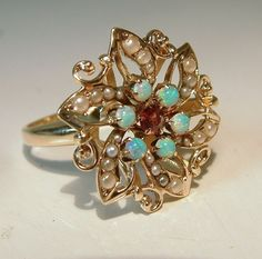 Vintage 14 Karat Yellow Gold Opal Garnet Seed Pearl Cocktail Ring Estate Fine Jewelry Sz 8 $895