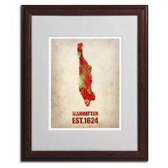 Manhattan Watercolor Map by Naxart Matted Framed Painting Print