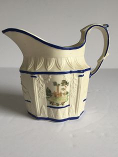 """1810 Leeds Castleford Feldspathic Relief Molded Stoneware Creamer SCENIC PAINTED  