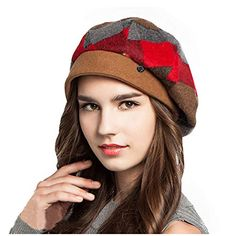 1069c925 High-end Fashion Winter Womens Warm Wool Beret French Artist Plaid Beanie  Hat Ski Cap Hat