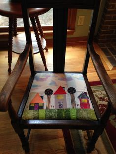 Bought this chair at moving sale.  Began to get it ready to paint when I discovered it is solid, beautiful oak. Cleaned it- left it without wax,etc for the worn/ shabby look.  Made this piece and covered seat today. It makes me laugh and that is always good.