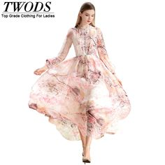 Find More Dresses Information about Twods High end Quality Silk Floral Print Women Pink Dress 2016 Summer Plus Size XXXL Maxi Long Dresses Long Sleeve Elastic Waist,High Quality printed jersey dress,China printing code Suppliers, Cheap dresses halter from TWODS on Aliexpress.com