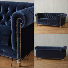 This ancestral 18th century chesterfield model is a button-tufted sofa in sapphire velvet along with its great nailhead trim and rolled English arms. Its timeless, oversized shape and richly-hued upholstery accented with Kiln-dried hardwood frame is perfect a modern home.