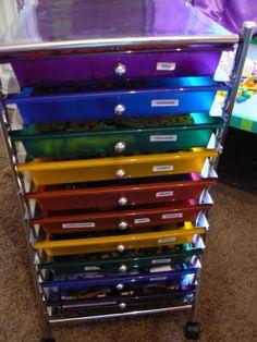 Ideas Fabric Storage Drawers Scrapbook Paper For 2019 Kids Craft Storage, Lego Storage, Fabric Storage, Paper Storage, Lego Desk, Lego Table, Set Of Drawers, Storage Drawers, Toy Organization