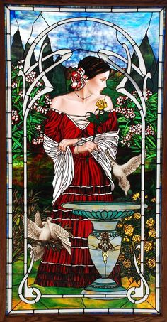 Stained glass Lady with dove
