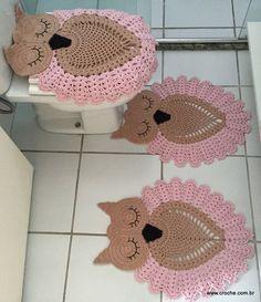 Bath Crochet Patterns Part 2 - Beautiful Crochet Patterns and Knitting Patterns Crochet Owls, Crochet Doily Patterns, Crochet Home, Crochet Designs, Crochet Doilies, Crochet Baby, Knitting Patterns, Imagenes Fantasia Y Color, Owl Rug