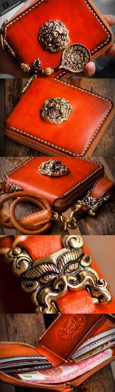 Handmade mens leather biker chain wallet zipper Short leather chain wallet for men Leather Chain, Leather Men, Brown Leather, Best Wallet, Slim Wallet, Billfold Wallet, Clutch Wallet, Pouch, Wallet Chain
