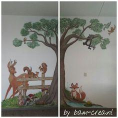 muurschildering bos figuurtjes