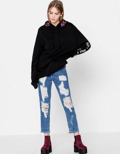 Pull&Bear - donna - abbigliamento - jeans - jeans mom fit vita alta - azzurro oscuro - 05683305-I2016