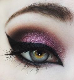 Purple lavender smoky eye with amazing cat eye liner.