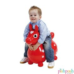 Rody hippity hop ride-on Horse! Made of super strong latex free vinyl, inflatable to adjust for the weight of child. A fun toy for ages 3-5. Great for developing balance and coordination skills. Choose from a horse (shown), rabbit or giraffe. Priced at $49.95.  http://www.pishposhbaby.com/gymnic-rody.html
