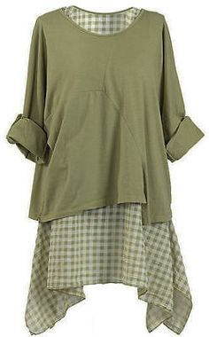 New Ladies Italian 2Layer Check pattern Tunic Top Cotton Lagenlook Top Plus Size
