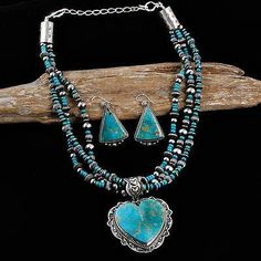 """HAPPY PIASSO """"Navajo Heart"""" Royston Turquoise Necklace Squash Blossom Earrings in Jewelry & Watches, Ethnic, Regional & Tribal, Native American, Necklaces & Pendants 