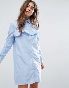Boohoo Frill Front Shirt Dress