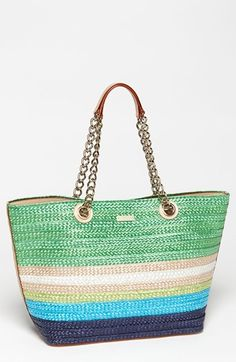 CUTE FOR THE BEACH AND SUMMER OUTINGS kate spade new york 'chelsea market - small coal' straw tote