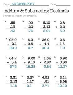 decimal addition subtraction ws math fifth grade math math worksheets teaching math. Black Bedroom Furniture Sets. Home Design Ideas